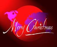 glad värld för juljordklotöversikt stock illustrationer