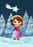 glad vykort för jul Målningillustration Fotografering för Bildbyråer