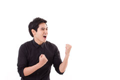 Glad winner man shouting. Glad, happy winner man shouting Royalty Free Stock Photos