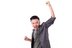 Glad winner man shouting. On white isolated background Royalty Free Stock Images