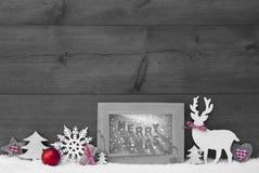 Glad Xmas för svart vit röd ram för julbakgrundssnö Royaltyfria Bilder