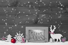 Glad Xmas för svart vit röd ram för julbakgrundssnöflingor Arkivfoto