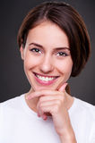 Glad young woman Stock Images