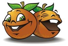 glada apelsiner två Arkivbild