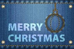Glada julhälsningar på jeansbakgrund Fotografering för Bildbyråer