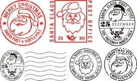 glada poststämplar för jul vektor illustrationer