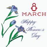 Gladdon-Hand gezeichnet mit internationalem Frauentag der Beschriftung am 8. März Stockbild