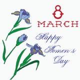 Gladdonhand met het van letters voorzien 8 maart internationale vrouwendag die wordt getrokken Stock Afbeelding
