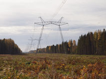 Glade  in the autumn forest with the supports of power lines. Stock Photography