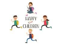 Glade barn går till skolan Start av året vektor stock illustrationer