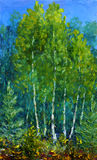 Glade of beautiful trees in the forest. Original oil painting on canvas Royalty Free Stock Images