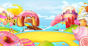 Glade in a candy land. Sweet landscape, vector panorama Stock Photos