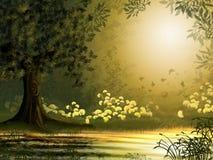 Glade com imagem de dandelions ilustração do vetor
