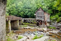 Glade Creek Grist Mill at Babcock State Park, West Virginia stock images
