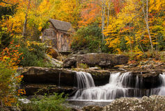 Glade Creek Grist Mill. The beautiful and picturesque Glade Creek Grist Mill amidst the amazing colors of autumn at Babcock State Park in West Virginia royalty free stock photo