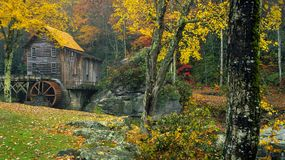 Glade Creek Grist Mill in fall Stock Images