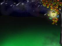 Glade do duende sob estrelas ilustração stock