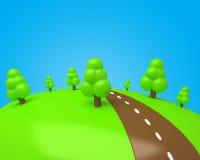 Glade dos desenhos animados com árvores e a estrada doces do chocolate Ilustração Royalty Free