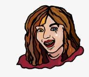 Glade enkla flickaskratt öppnar leendetänder Arkivfoto
