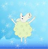 Glade får under snön stock illustrationer