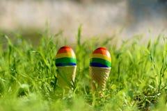 Glade f?rgflaggor f?r regnb?ge LGBT p? ?ggen fotografering för bildbyråer