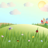 Glade with a grass and insects 2. Glade with a grass and insects, lodges Stock Photo