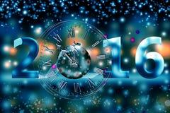 2016 glade jul och lyckligt nytt år Arkivbild