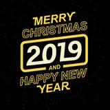 2019 glade jul och lyckligt nytt år för dina säsongsbetonade broschyrer och hälsningkort eller themed inbjudningar för jul Royaltyfri Fotografi