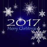 Glade julkortXmas-garneringar vita julsilversnowflakes vektor royaltyfri illustrationer