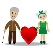 Glade morföräldrar som ska rymmas på till den röda hjärtan vektor illustrationer