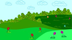 Glade. Nature vector  illustration.Sun Day Royalty Free Stock Photos