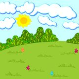Glade. Nature vector  illustration. Sun Day Royalty Free Stock Photography