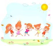 Glade och lyckliga barn som hoppar på gräset stock illustrationer