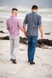 Glade par som går rymma händer royaltyfri bild