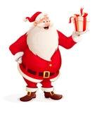 Glade Santa Claus med julgåvan i hand Arkivbilder