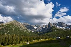 The glade with the shepherds ` shacks in the High Tatras royalty free stock photos