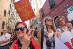 2016 glade stolthet Genova Arkivfoton