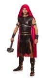 Gladiador com o martelo isolado no branco Fotografia de Stock Royalty Free