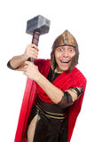 Gladiador com o martelo no branco Foto de Stock
