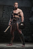 Gladiador com protetor e machado Fotos de Stock Royalty Free