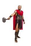 Gladiador con el martillo aislado en blanco Fotos de archivo