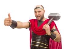 Gladiador con el martillo aislado en blanco Imagen de archivo libre de regalías