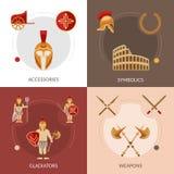 Gladiador Flat Set Imagenes de archivo