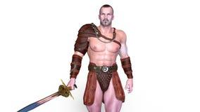 Gladiador que camina ilustración del vector