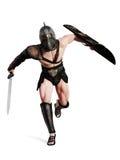 Gladiador que corre na batalha em um fundo branco isolado ilustração do vetor