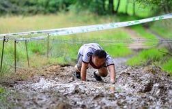 Gladiador Race - raça de obstáculo extrema no La Fresneda, Espanha foto de stock