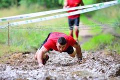 Gladiador Race - raça de obstáculo extrema no La Fresneda, Espanha imagens de stock