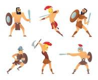 Gladiadores que guardam espadas Caráteres de combate em poses da ação ilustração stock