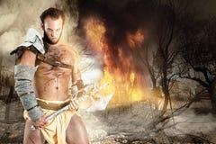 Gladiator/βάρβαρος πολεμιστής Στοκ εικόνα με δικαίωμα ελεύθερης χρήσης