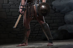 Gladiator με την ασπίδα και το τσεκούρι Στοκ Εικόνα